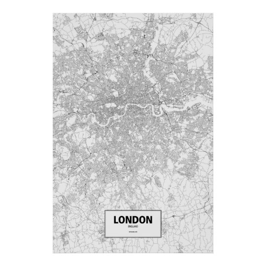 London, England (black on white) Poster