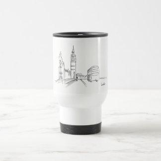 London England City Sketch Simple Elegant Big Ben Travel Mug