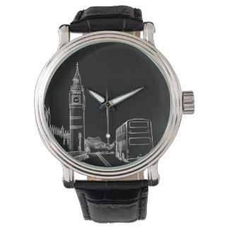 London England Classy Elegant City Sketch Black Watch