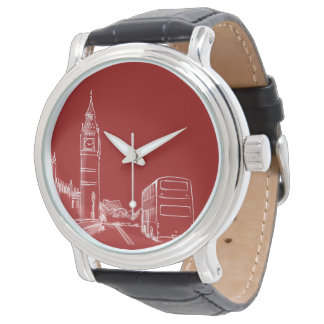London England Classy Elegant Sketch Red Big Ben Watch
