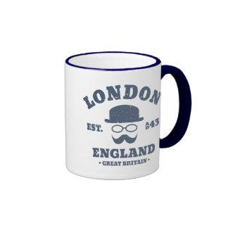 London England GB Hipster Bowler Hat Ringer Mug