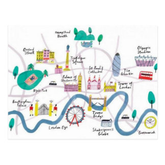 London England Graphic Map Postcard