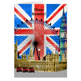 London England Happy Birthday Card