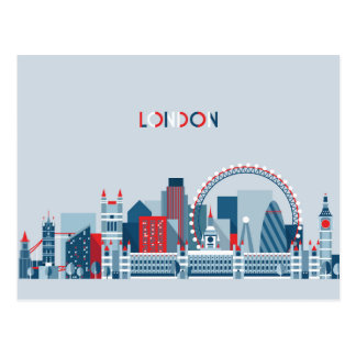 London, England | Red, White and Blue Skyline Postcard
