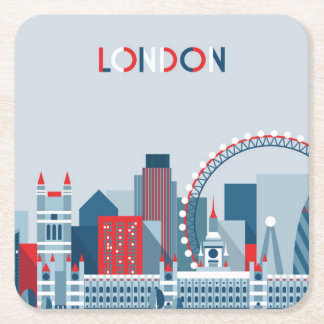 London, England   Red, White and Blue Skyline Square Paper Coaster