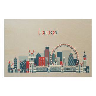 London, England | Red, White and Blue Skyline Wood Canvases