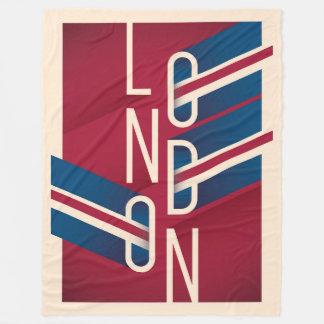 London, England | Retro Illustrated Typography Fleece Blanket