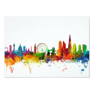 London England Skyline 13 Cm X 18 Cm Invitation Card