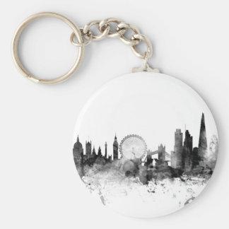 London England Skyline Basic Round Button Key Ring