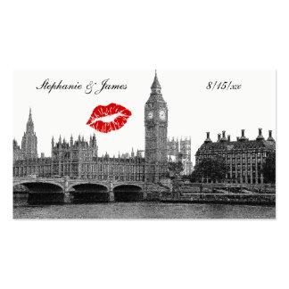 London England Skyline Kiss BW Escort Cards Business Card Template