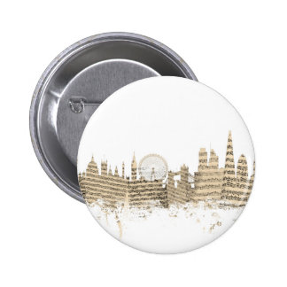 London England Skyline Sheet Music Cityscape 6 Cm Round Badge