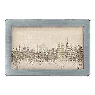 London England Skyline Sheet Music Cityscape Rectangular Belt Buckle