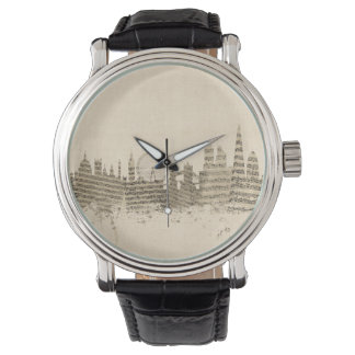 London England Skyline Sheet Music Cityscape Wristwatches