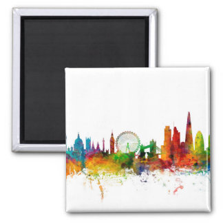 London England Skyline Square Magnet