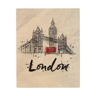 London, England | Splashy Artwork Wood Print