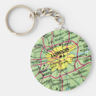 London, England Street Map Basic Round Button Key Ring