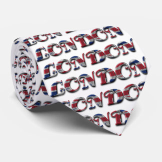 London England Typography Flag Colors Tie