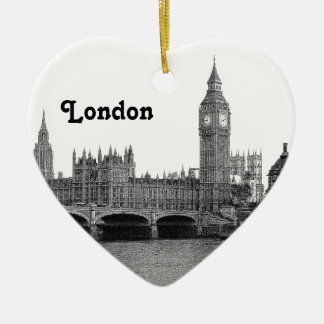 London England UK Skyline Etched Christmas Ornament