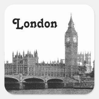 London England UK Skyline Etched Square Sticker