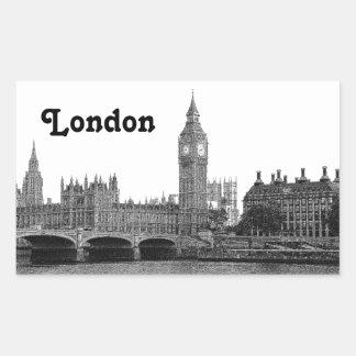 London England UK Skyline Etched Rectangular Sticker