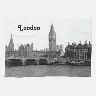 London England UK Skyline Etched Tea Towel