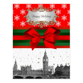 London England UK Skyline Red Snowflake Christmas Postcard
