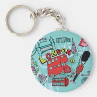 London ~ England United Kingdom Travel Art Basic Round Button Key Ring