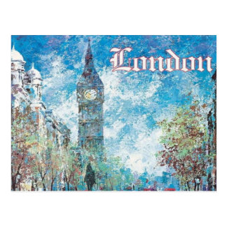 london England Vintage retro tourism Big Ben Postcard
