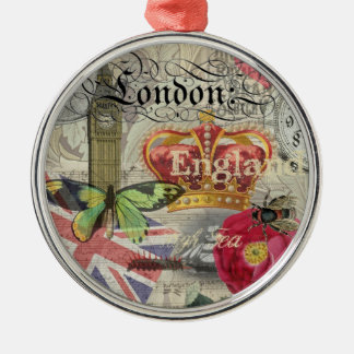 London England Vintage Travel Collage Christmas Ornament