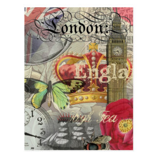 London England Vintage Travel Collage Postcard