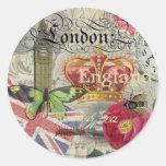 London England Vintage Travel Collage Round Stickers