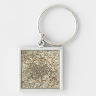London environments Silver-Colored square key ring