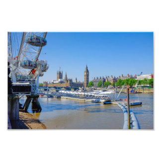 London Eye and Houses of Parliament Print Photo Art