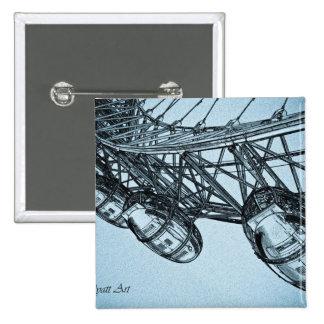 London Eye art 15 Cm Square Badge