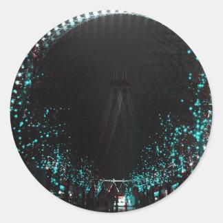 London eye at night round sticker