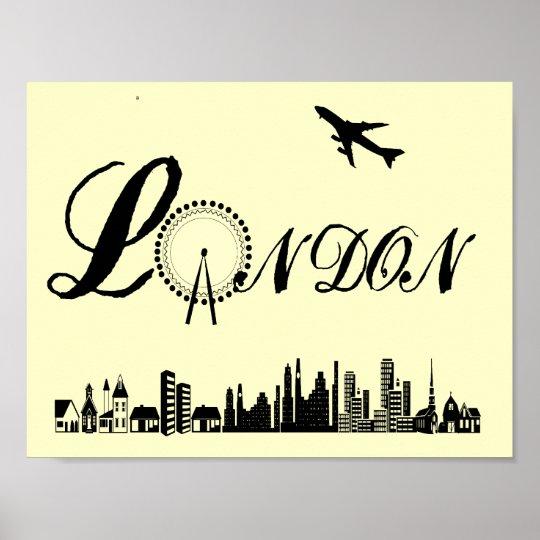 London Eye City Theme Word Art Poster Print