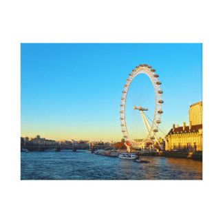 London Eye Sunset Stretched Canvas Print