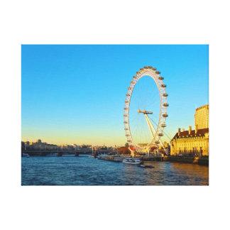 London Eye Sunset Stretched Canvas Prints