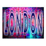 London fireworks on Thames postcard