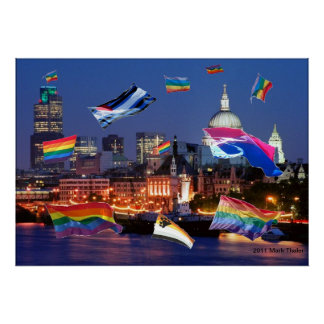 London Flying Pride Flags Poster