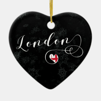 London Heart, Christmas Tree Ornament, England Christmas Ornament