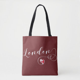 London Heart Grocery Bag, Great Britain Tote Bag