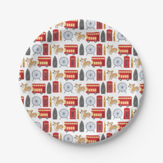 London Icon Collage 7 Inch Paper Plate