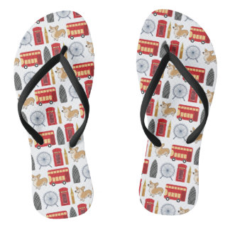 London Icon Collage Flip Flops