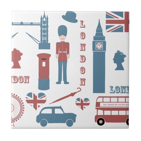 London Icons Retro Love Souvenir ceramic tile