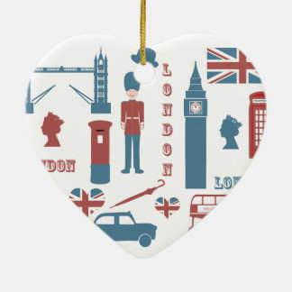 London Icons Retro Love Souvenir heart ornament