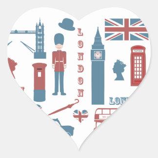 London Icons Retro Love Souvenir heart stickers