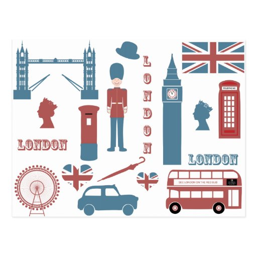 London Icons Retro Love Souvenir postcard