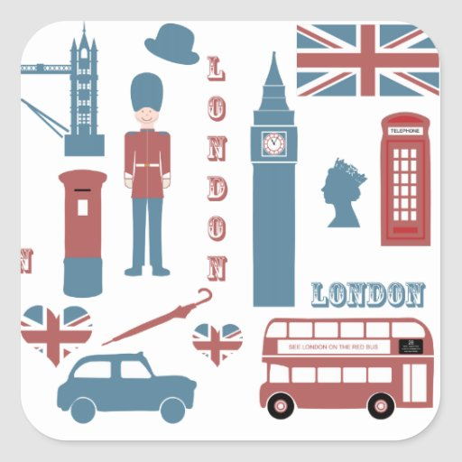 London Icons Retro Love Souvenir square stickers