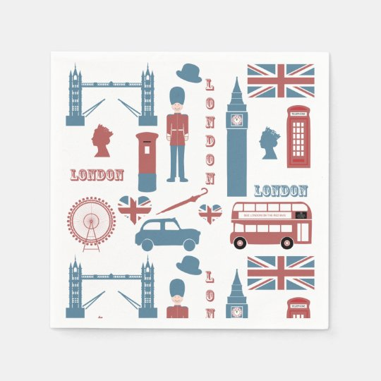London Icons Retro Love Themed Party Paper Napkins